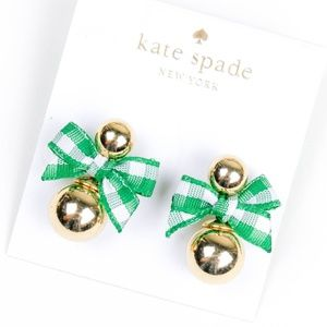kate spade green bow golden ball earrings